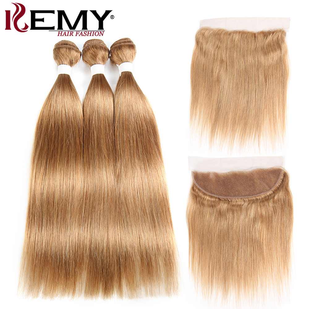 Light Brown Brazilian Straight Human Hair Bundles With Frontal Ear To Ear Closure  KEMY HAIR 100% Non Remy Human Hair Weaves