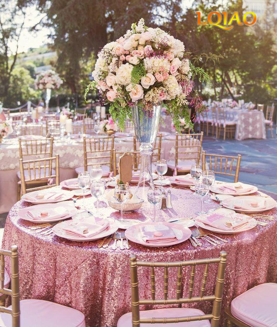 Wedding Tablecloths: 10PCS Embroidered Pink Gold Sequin Tablecloth 120 Round