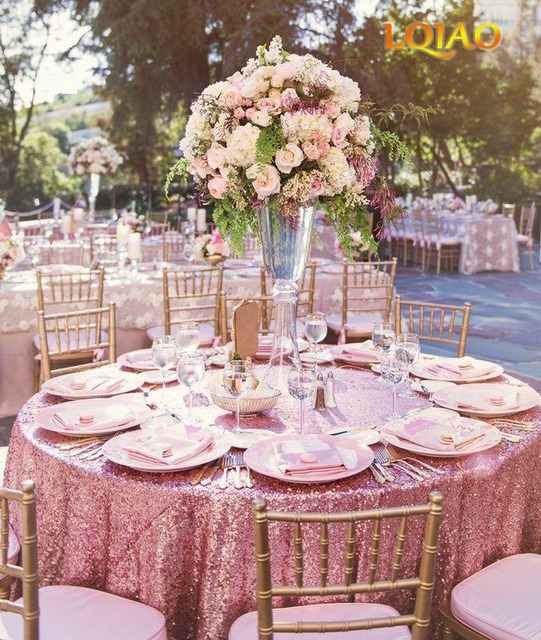 10pcs Embroidered Pink Gold Sequin Tablecloth 120 Round Table Cover