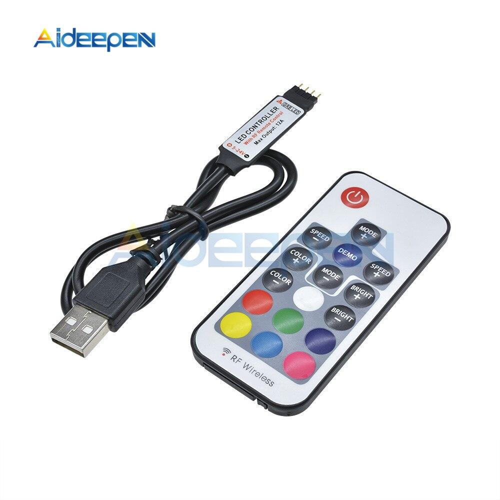 5V 12V RGB IR RF Remote Controller 5V 12V USB SMD 5050 LED Strips Light 17-key Wifi LED Strip USB RF Controller