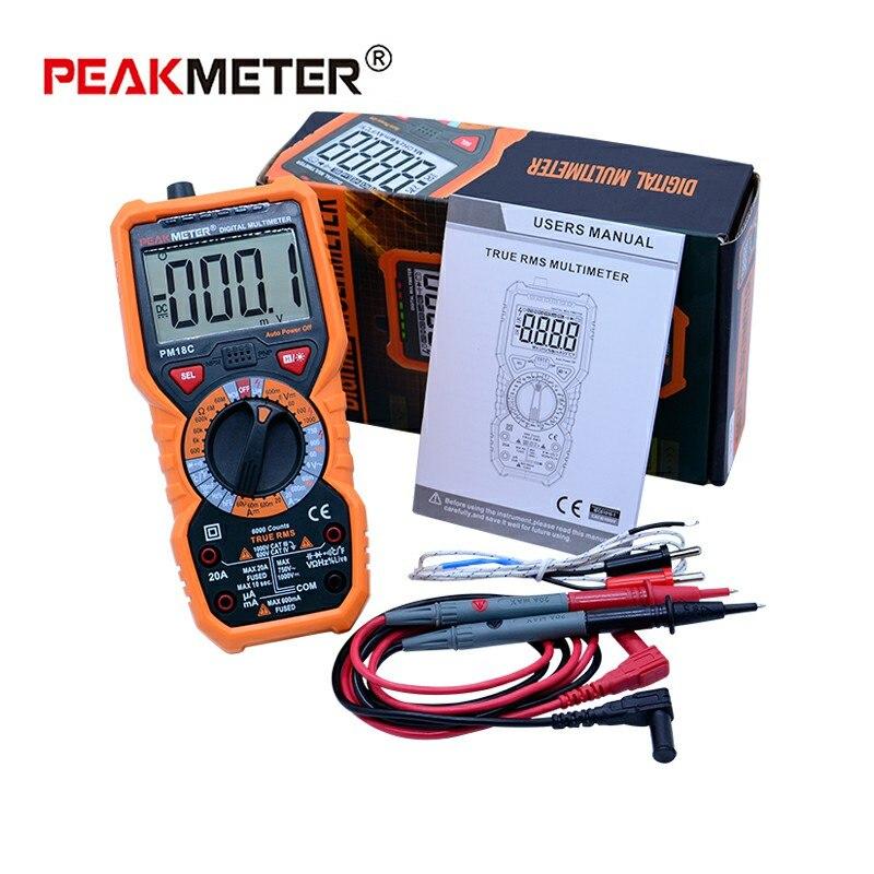 100% originale PEAKMETER PM18C Multimetro Digitale a Vero Rms Auto Gamma Multimetro Tasca Con Grande luce del flash