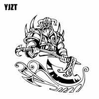 YJZT 16.1*16.9CM Firece Strong Powerful Viking Warrior Car Sticker Decal Soldier Black/Silver Covering The Body Vinyl C21-0117