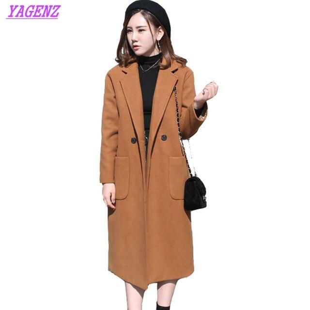 NEW Plus size Korean version Women Winter Warm Long Woolen Jacket high quality Loose Wool coat Straight Wool overcoat Camel B181