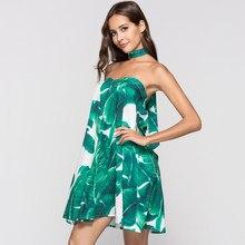 e50ba9d0d72f Bohoartist Green Tropical Print Short Dress Sexy Strapless Backless  Sundress Korean Fashion Vacation Beach Summer Mini Dress New