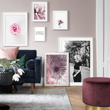 Pink Rose Flower Nordic Posters And Prints Wall Art Canvas Painting Pictures For Living Room Scandinavian Home Decor