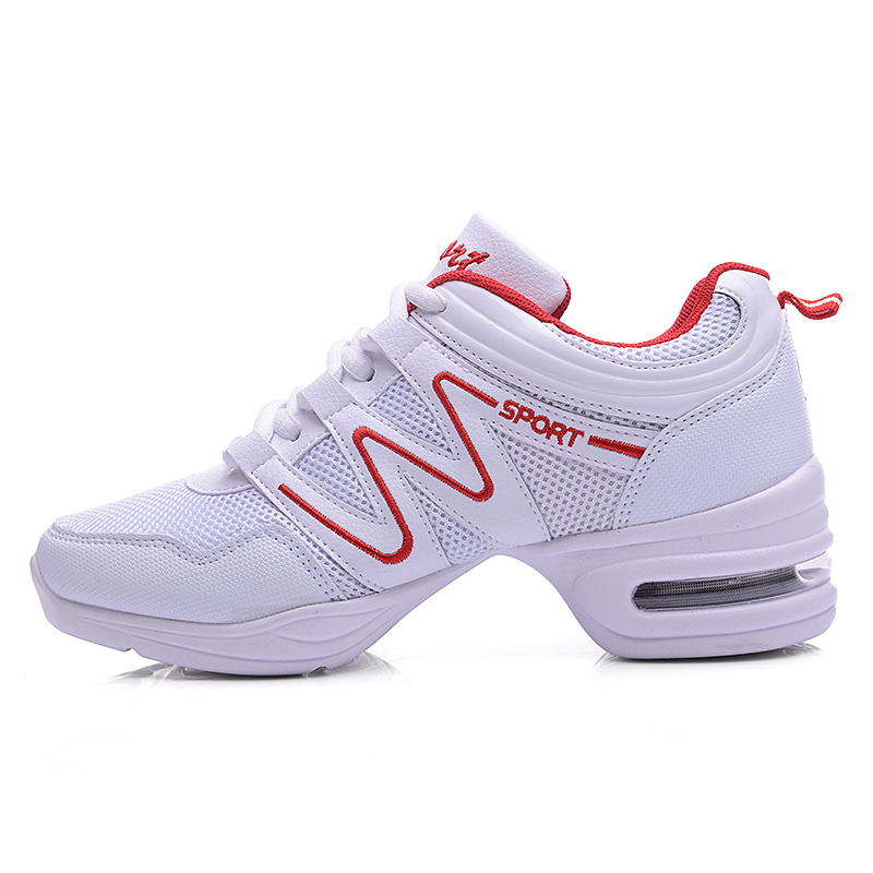 Maultby Women White Red Dance Shoes Jazz Hip Hop Shoes Salsa Sneakers for Woman Platform Dancing Ladies Shoes #DS4024W