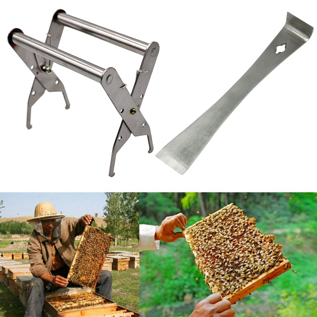 DLKKLB Beekeeping Tools Kit Bee Hive Frame Holder + Hive Scraper Tool Apiculture Stainless Steel Hand-held Nesting Equipment