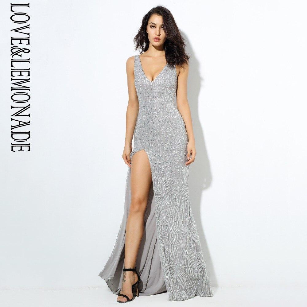 Love Lemonade Silver Cut Out Deep V Collar Glitters Glued Material Long Dress LM6713