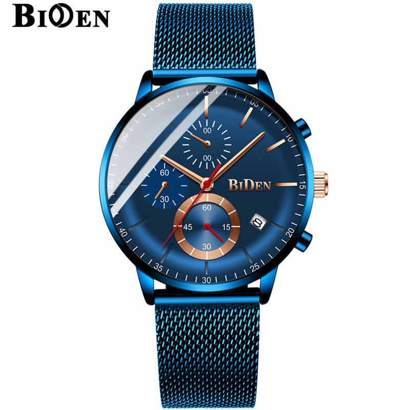 BIDEN часы мужские 2019 синие Роскошные кварцевые Стальные мужские s часы хронограф часы Роскошные мужские s наручные часы relogios masculino