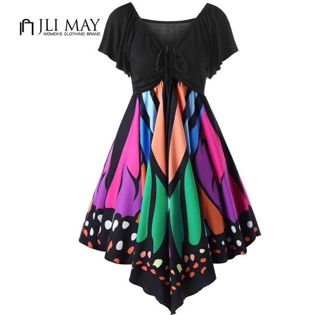 JLI MAY Summer sexy Dress butterfly Print V-Neck Asymmetrical short sleeve womens  clothing party elegant Casual women dresses 4274e5848f92