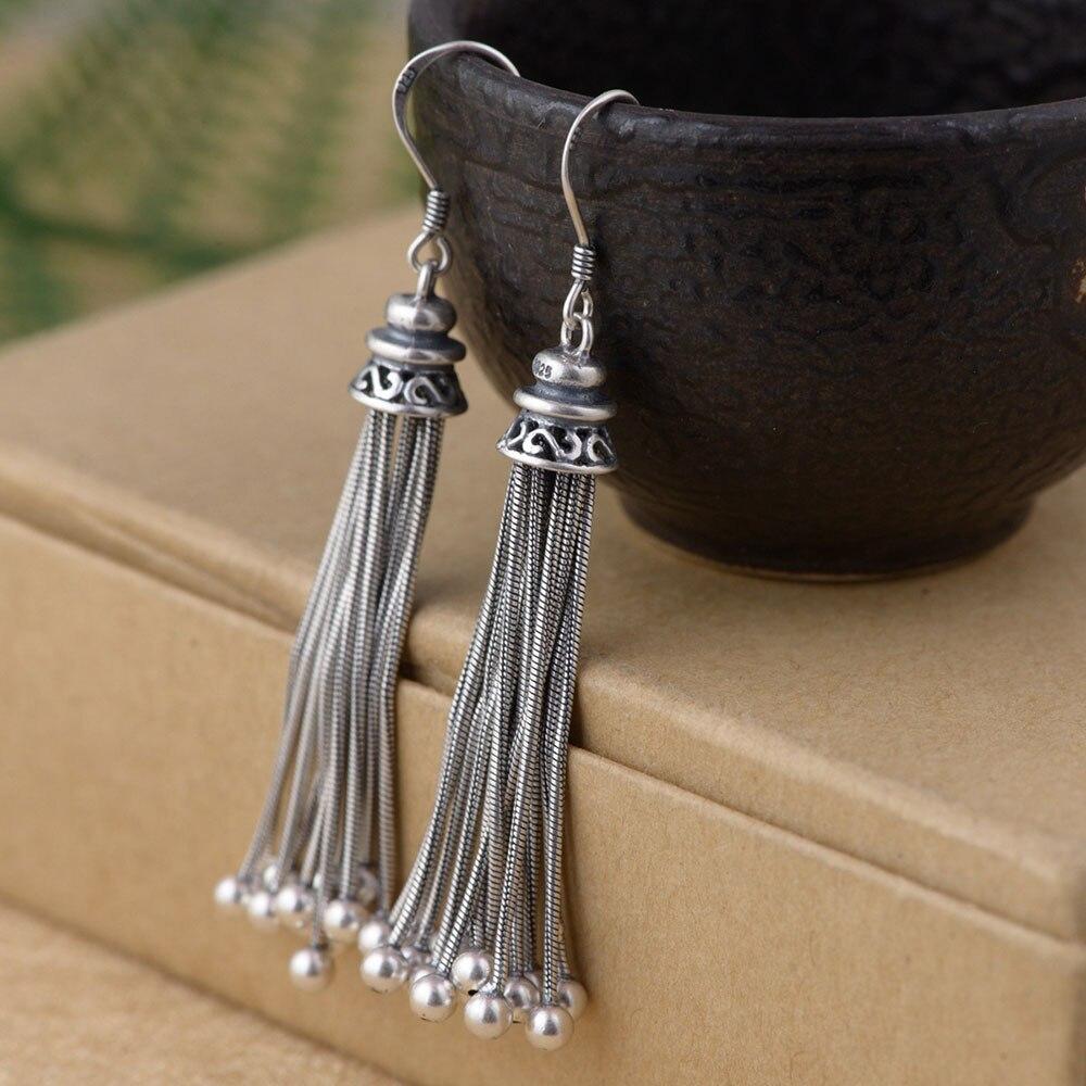 FNJ 925 Silver Tassel Earrings for Women Jewelry Ball Beads 100 S925 Sterling Silver boucle d