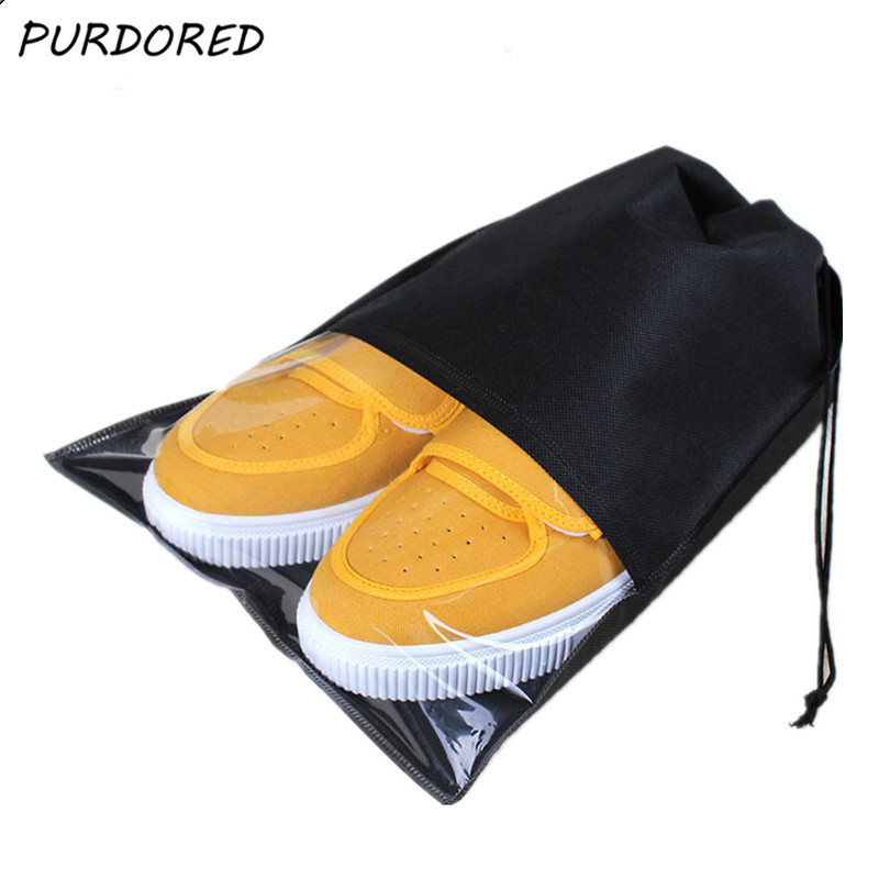 PURDORED 1 Pc Portable Waterproof Shoes Storage Bag Pouch Travel Organizer Drawstring Bag  Laundry Organizador Dropshipping
