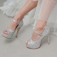 4 Inch Stilettos Heel Silver Glitter Popular Formal Shoes Customized Peep Toe Women High Heels Wedding