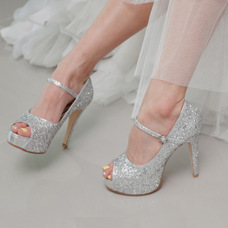 4 inch stilettos heel silver glitter popular formal shoes customized peep toe women high heels wedding shoes party prom shoes
