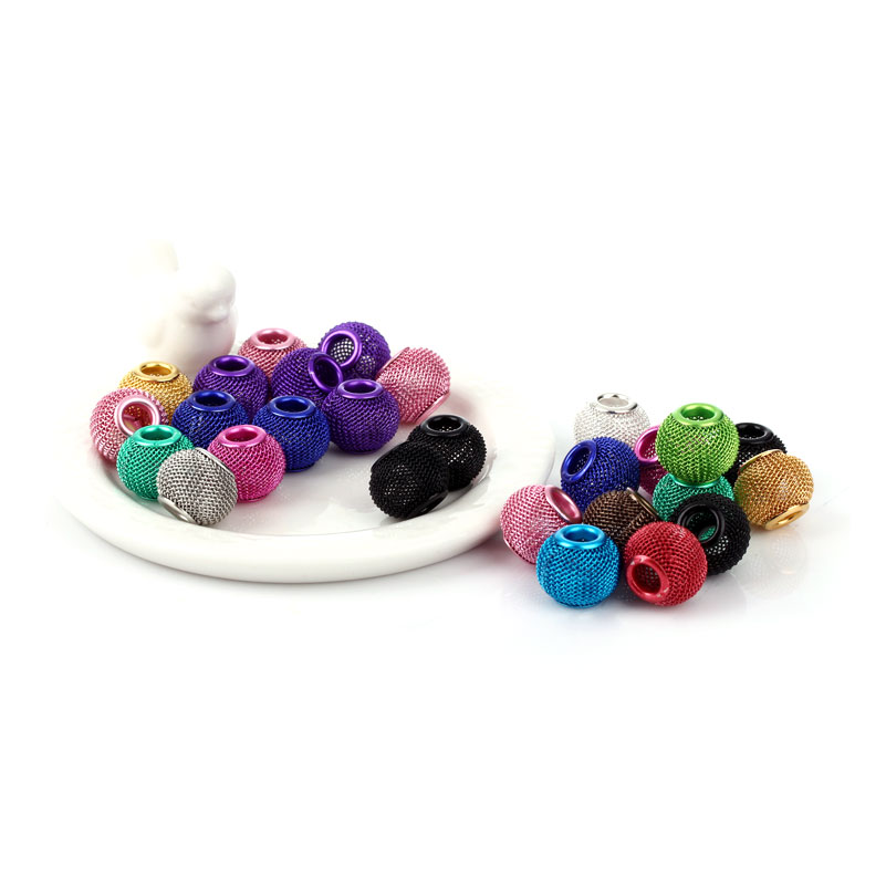 14MM 100pcs/lot Basketball Wives Inspired Hoop Earrings Mesh Beads Craft Findings Mix Colors D0268