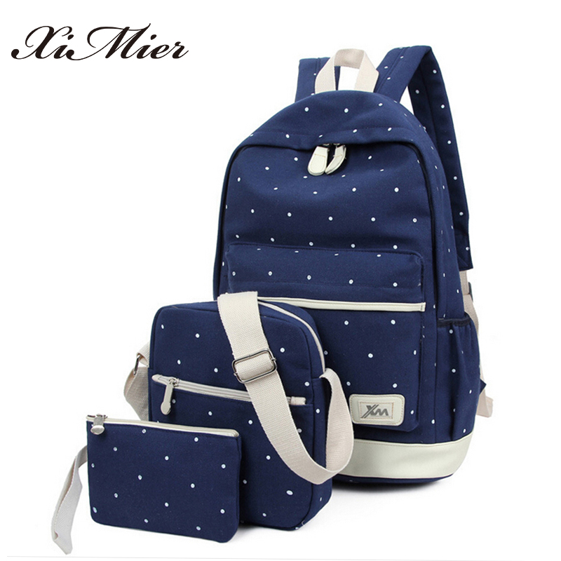 Canvas Backpack Women Dot School Bag For Teenagers Girls Preppy Style Composite Bags Set Travel High