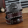 Genuine Leather Men Belt Vintage Metal Strap Cowboy Belt Buckle Mens Belts Luxury Ceinture Homme Male Belt  Wide Jeans  MBT0171