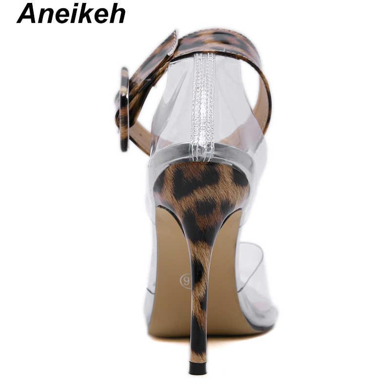 Aneikeh 2019 ノベルティ PVC 女性のサンダル透明蛇行ヒョウ穀物薄型ハイヒールカバーヒールバックルストラップオフィスドレス