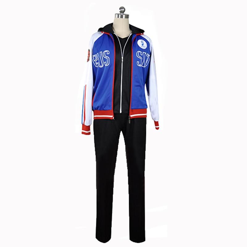 YURI!!! on ICE Yuri Plisetsky Coat Jacket Hoody Hoodie Pants Sportswear Jersey Uniform Outfit Anime Cosplay Costumes