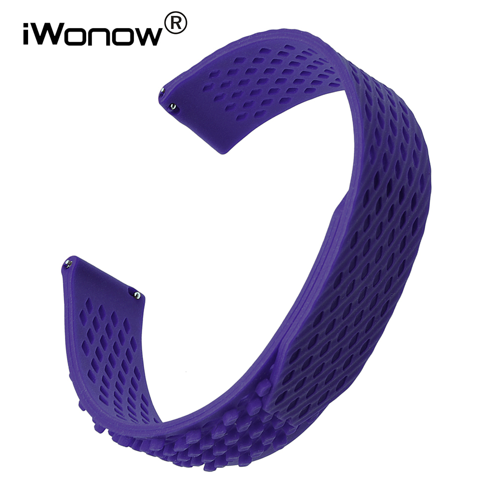 Silicone Rubber Loop Watchband 22mm 23mm Universal Watch Band Quick Release Strap Wrist Bracelet Black Blue Green Grey Red White