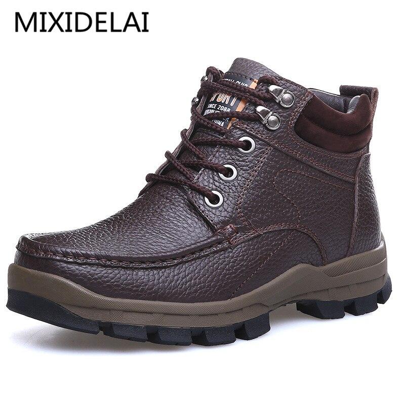 Мужские брендовые ботинки MIXIDELAI, коричневые повседневные мотоциклетные ботинки из натуральной кожи, теплая обувь для снега, большие размер...