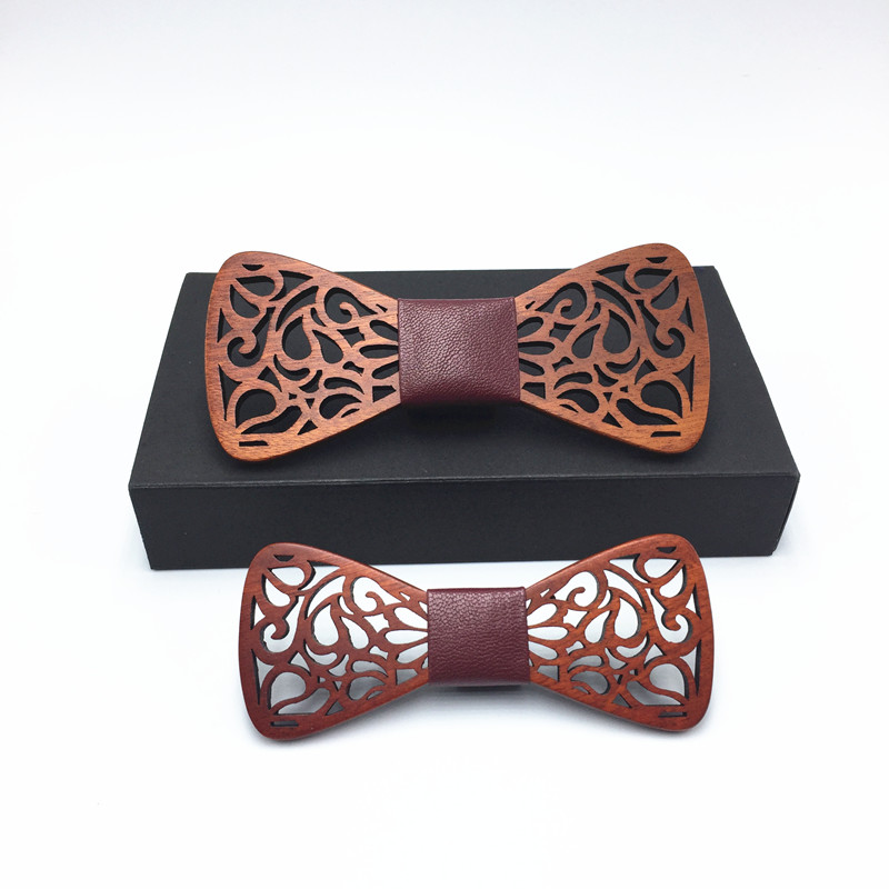 Romantic Hollow Wood Bow ties father and son Bowtie with handkerchief For Men Wooden bow tie for Christmas gift