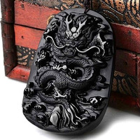 Yu Xin Yuan Beautiful Chinese Handwork Natural Jade Black Obsidian Carved Dragon Amulet Lucky Pendant Necklace Fashion Jewelry