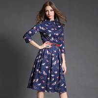 2015 Autumn New Style Fashion In Europe And America Bird Print Lapels Cropped Sleeves Long Dresses