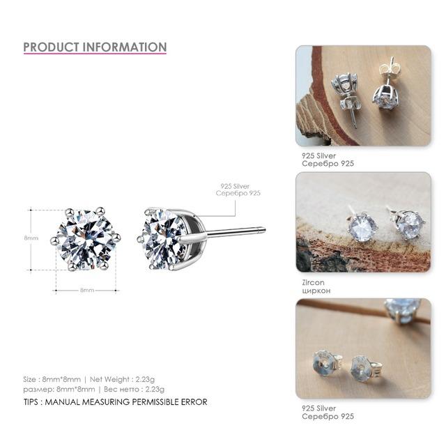 e-Manco Genuine Sterling Silver Costume Jewelry Earrings for Women Lovely Exquisite Earrings Silver 925 Jewelry