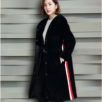 Fur Coat Ladies Dress 2016 New European Sheep Shearing Warm Haining FUR WOOL Hooded Jacket Large