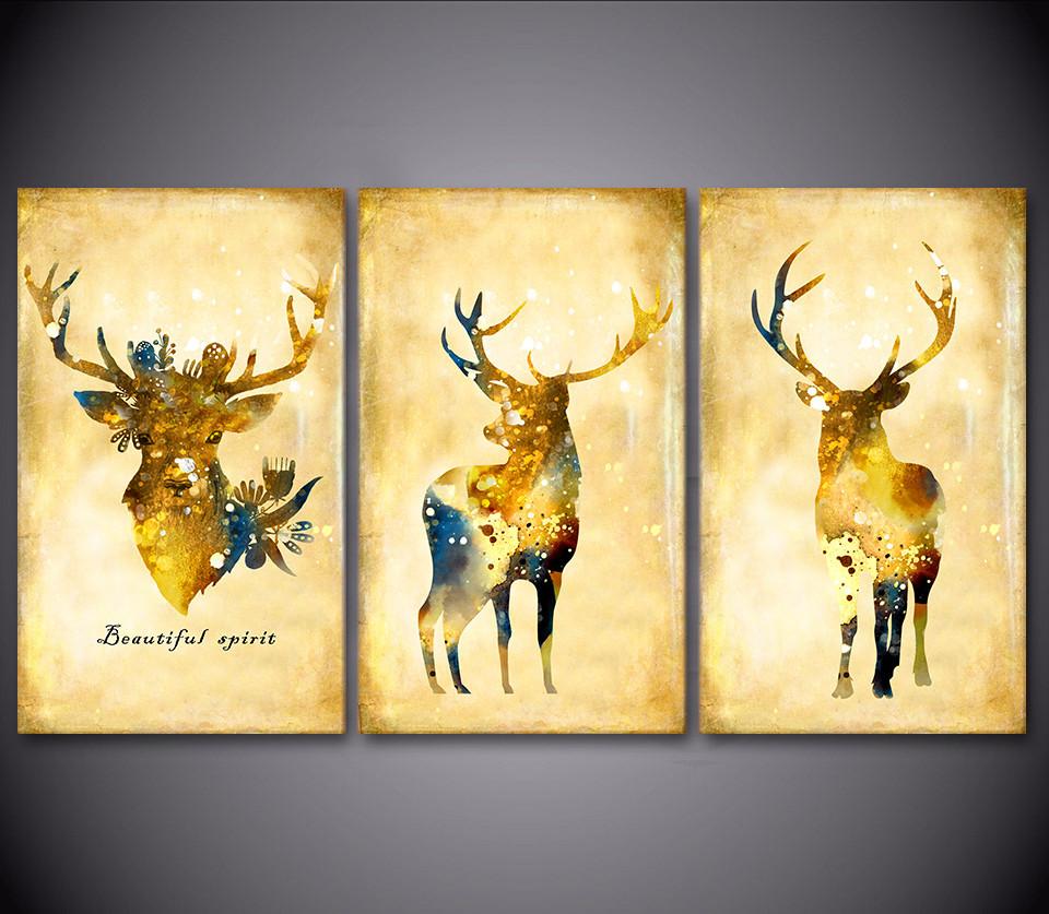 Canvas Printed 3 Piece Golden Deer Elk Animal Art Picture Canvas ...