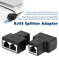 Network cable connector to connector Rj45 Network plastic Tee Head Cable Connector Ways splitter 1 to 2 extender plug adapter [category]