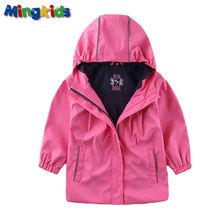 Mingkids Haute qualité rose coupe-vent veste imperméable pour les filles imperméable avec doublure en coton taille européenne
