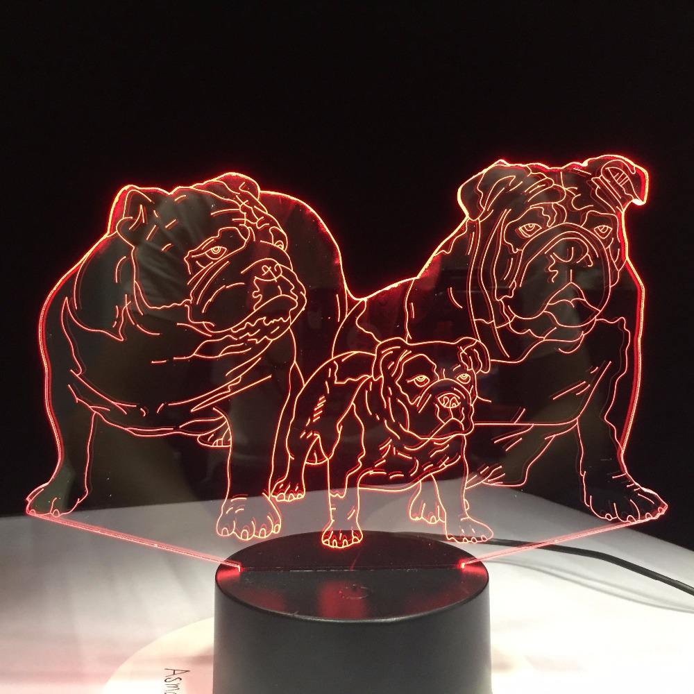 Pug Dog Family 3D Led Luminous Desk Lamp Novelty 7 Color Changing Usb Night Lights Home Decor Bedside Animal Creative Kids Gift led 3d innovative design visual rubik s cube modelling night lights 7 colorful usb touch button desk lamp creative kids toy gift