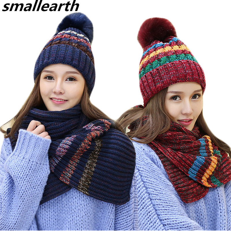 New Fashion Women Winter Warm Hat Scarf Set Plush Pom Pom Hat And Scarf Two Pieces Female Girls Long Knit Stripe Scarf Caps Sets