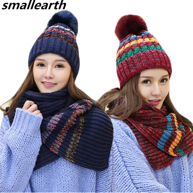 9c85a2f89 US $16.76 17% OFF|New Fashion Women Winter Warm Hat Scarf Set Plush Pom Pom  Hat and Scarf Two Pieces Female Girls Long Knit Stripe Scarf Caps Sets-in  ...