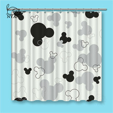NYAA Black And White Mickey Shower Curtains Dark Colored Waterproof Polyester Fabric Bathroom For