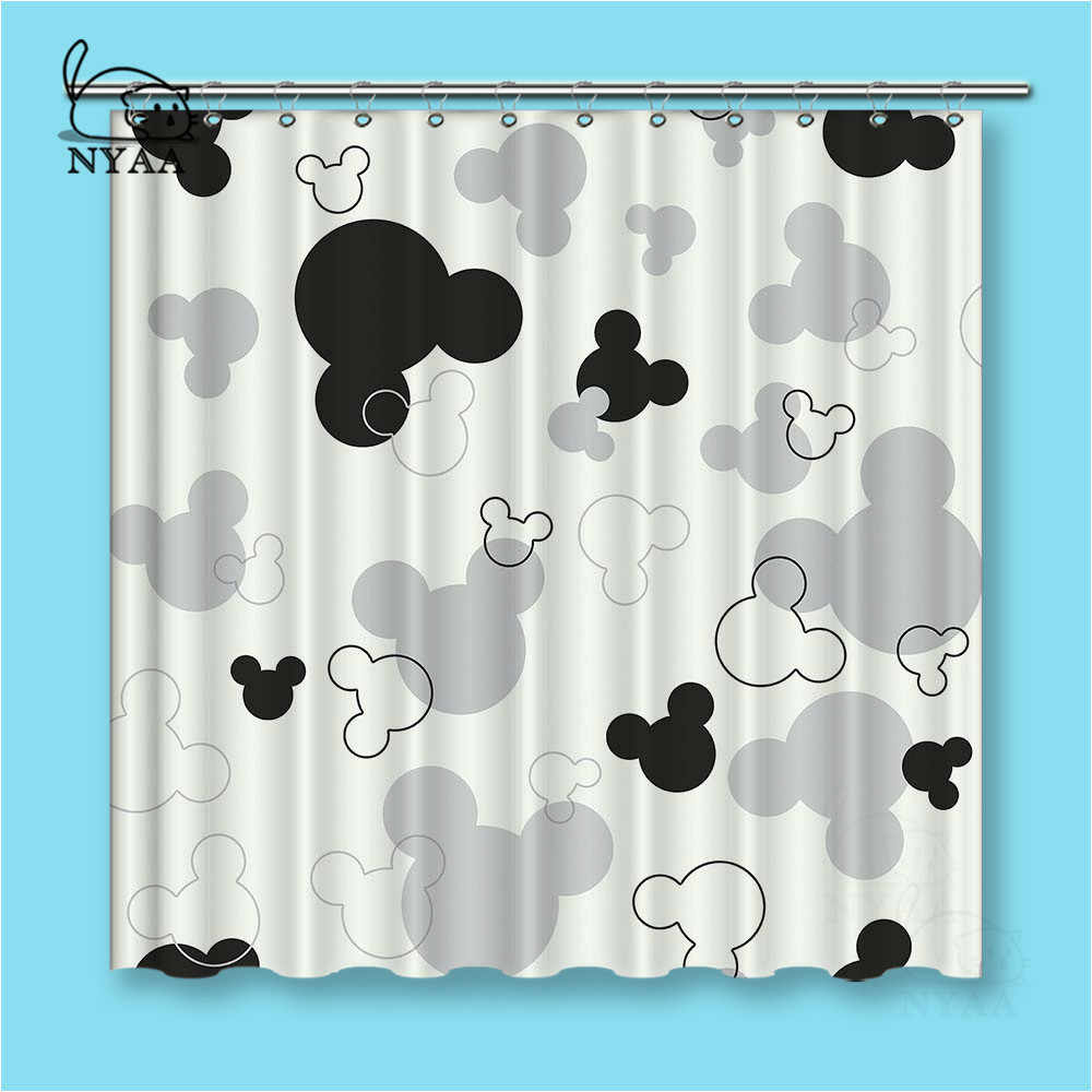 Detail Feedback Questions About NYAA Black And White Mickey Shower Curtains Dark Colored Waterproof Polyester Fabric Bathroom For Home Decor