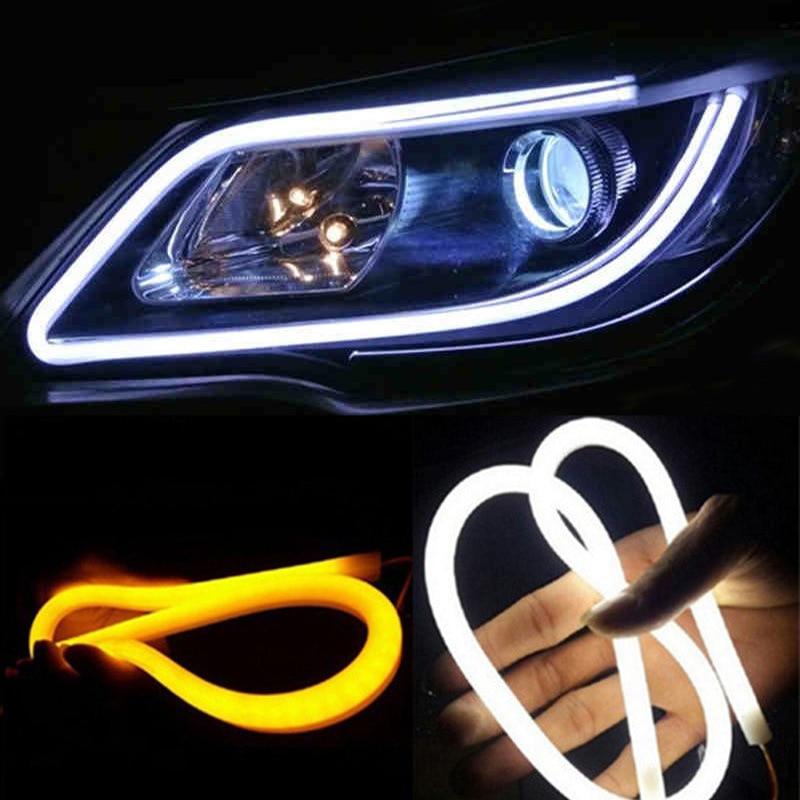 2 sztuk 30cm 45cm 60cm pojazdu DRL elastyczna rurka taśmy led światła do jazdy dziennej samochodu Turn Signal Angel Eyes Car Styling