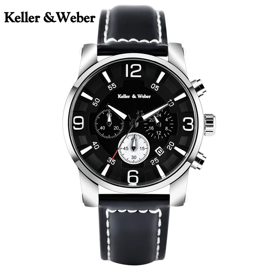 Keller & Weber High Quality Men Quartz Watches Chronograph Dial Genuine Leather Watchband 3 TAM Waterproof KW Sport Watch Male keller