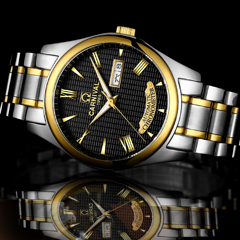 Carnival business automatic watch men stainless steel mechanical watches luminous hands Mens waterproof watch clock mechanical watch seiko mineral business stainless steel automatic waterproof watch men fashion watches quality clock wristwatch page 5