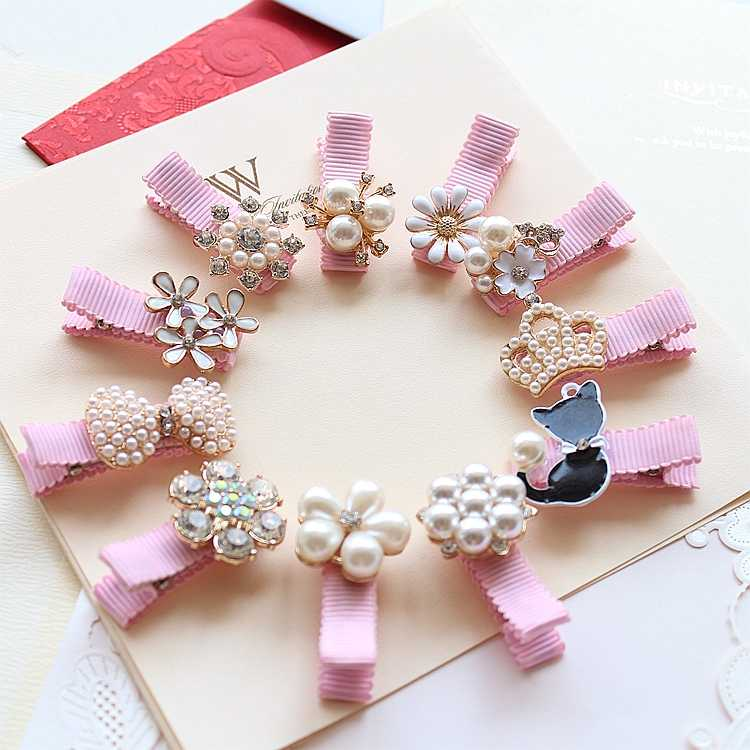 Creati Crown Pearls Baby Hairpins Hair Accessories Bowknot Princess Hairpins Girls Headwear Kids Headdress Children Hair Clips