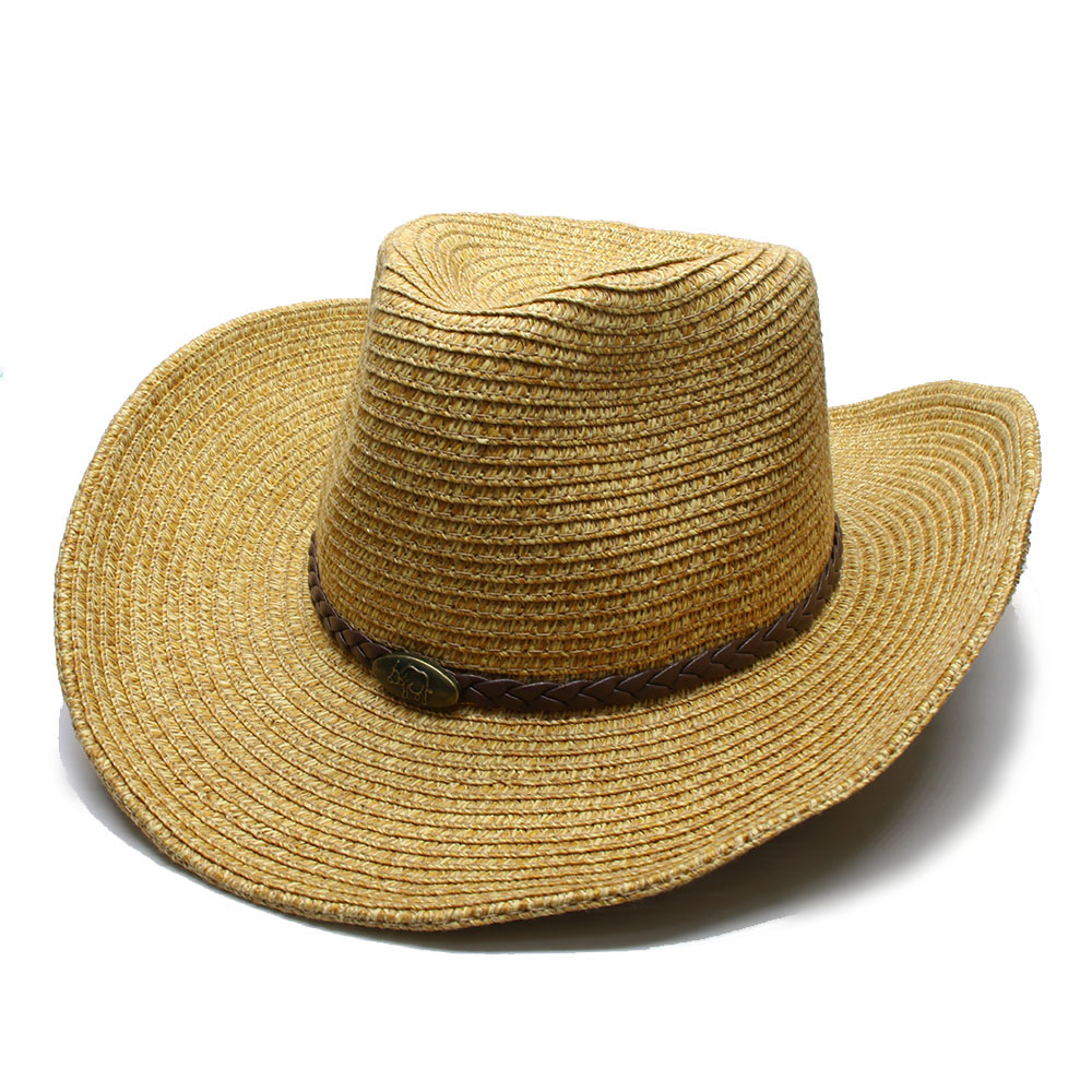 LUCKYLIANJI Women s Men s Unisex s Adjustable Soft Straw Wide Brim Sun Beach  Jazz Panama Cowboy Western Hat Fedora (58cm)-in Sun Hats from Apparel ... ac6c903bcccd