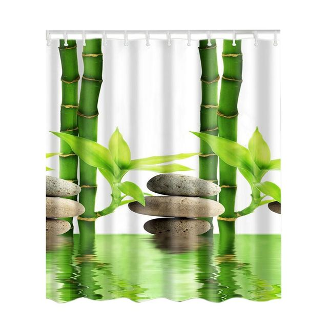 Foresta di bambù Impermeabile Tende Da Doccia Bagno Creativo Tenda Bagno In Poliestere Colorato Albero Cervi Nave di Pietra