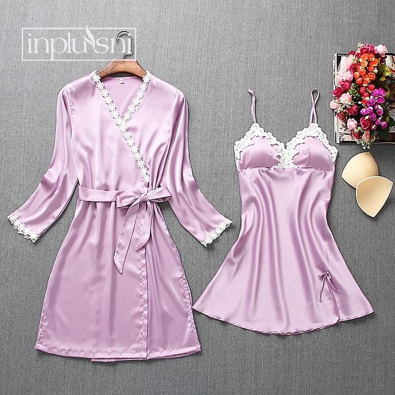 Inplusni Frauen Nachtwäsche Ice Silk Kleid Set Mode Spitze Schlinge Robe Sets V-ausschnitt Nette Cami Pyjamas Weibliche Sexy Nachtwäsche Pijama