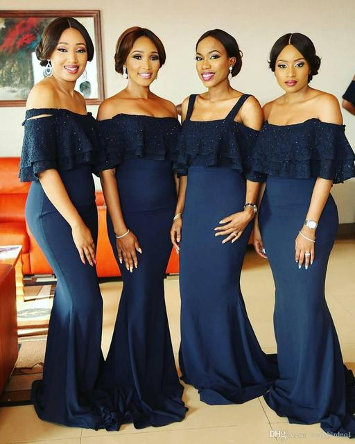 2017 New Elegant Navy Blue Off Shoulder Bridesmaid Dresses Lace Beaded  Mermaid Wedding Guests Wear Formal Party Gowns B265 5cdf253391a9