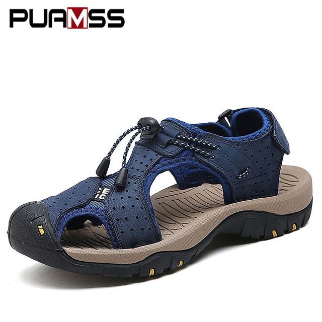 Men Sandals Genuine Leather Cowhide Male Summer Shoes Outdoor Beach Slippers Casual Suede Leather Gladiator Sandals Plus Size 45