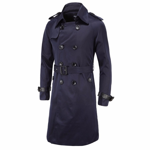 Trench Coat Men X Long British Slim Fit Pea Coats Double Breasted ...