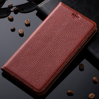 Natural Genuine Leather Magnet Stand Flip Cover For Microsoft Nokia Lumia 950 Luxury Mobile Phone Case