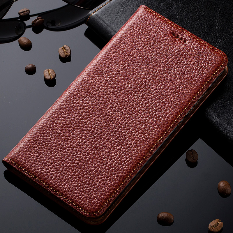 Natural Genuine Leather Magnet Stand Flip Cover For Microsoft Nokia Lumia 950 Lu